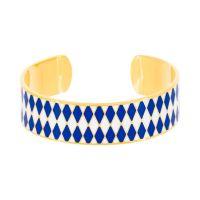 "Bracelet ouvert ""DARWIN"" émail Bleu finition dorée"