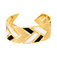 """Bracelet manchette """"LISBONNE"""" émail blanc et noir finition dorée"""