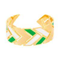 """Bracelet manchette """"LISBONNE"""" émail blanc et vert finition dorée"""