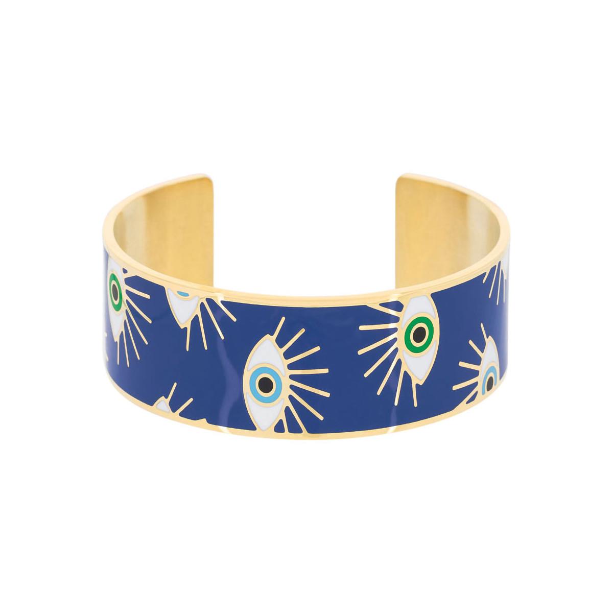 """Bracelet manchette """"POMPEI"""" émail Bleu finition dorée"""