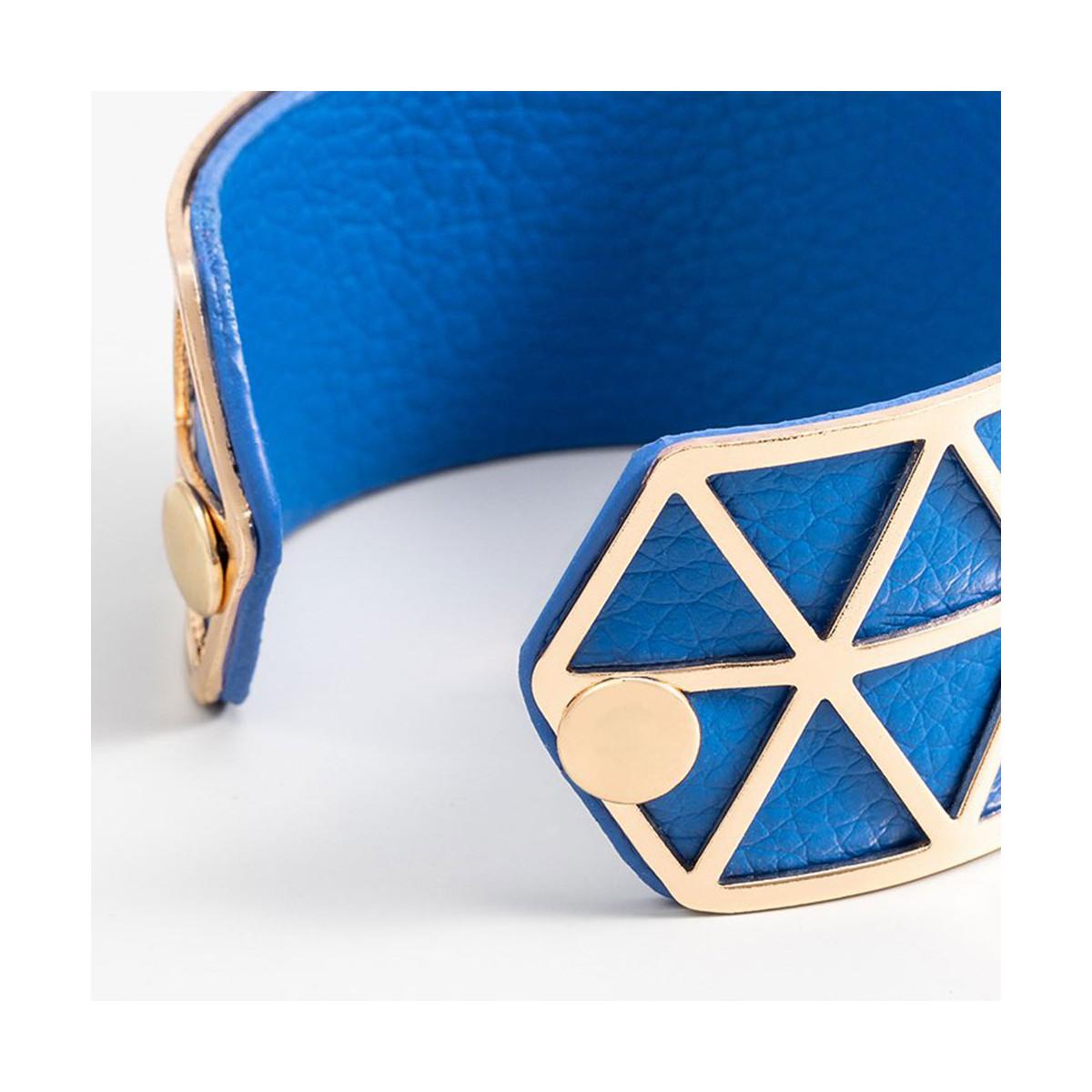 """Bracelet manchette """"STOCKHOLM"""" simili cuir Bleu finition dorée"""