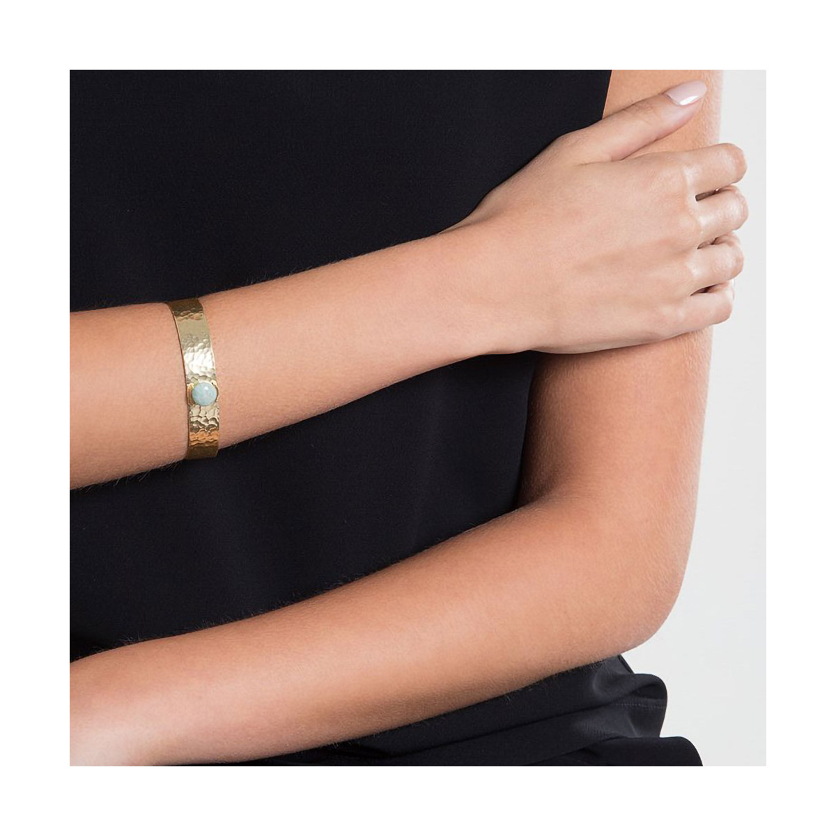 "Bracelet jonc ouvert ""Caroline"" Amazonite verte"