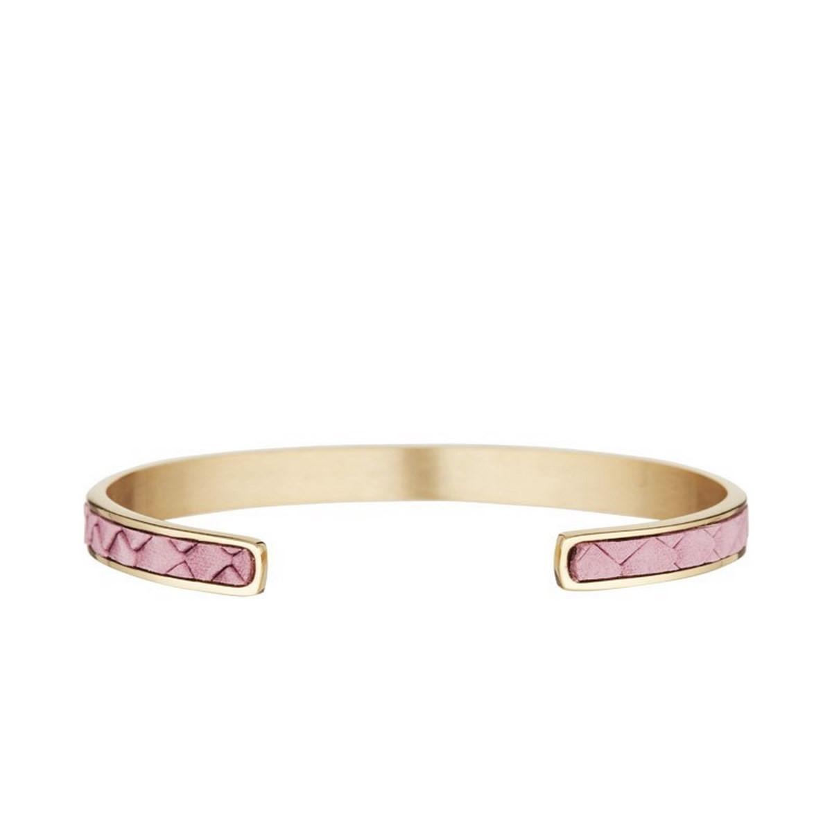 """Bracelet jonc ouvert """"SHANGHAI"""" tissu matelassé Rose finition dorée"""