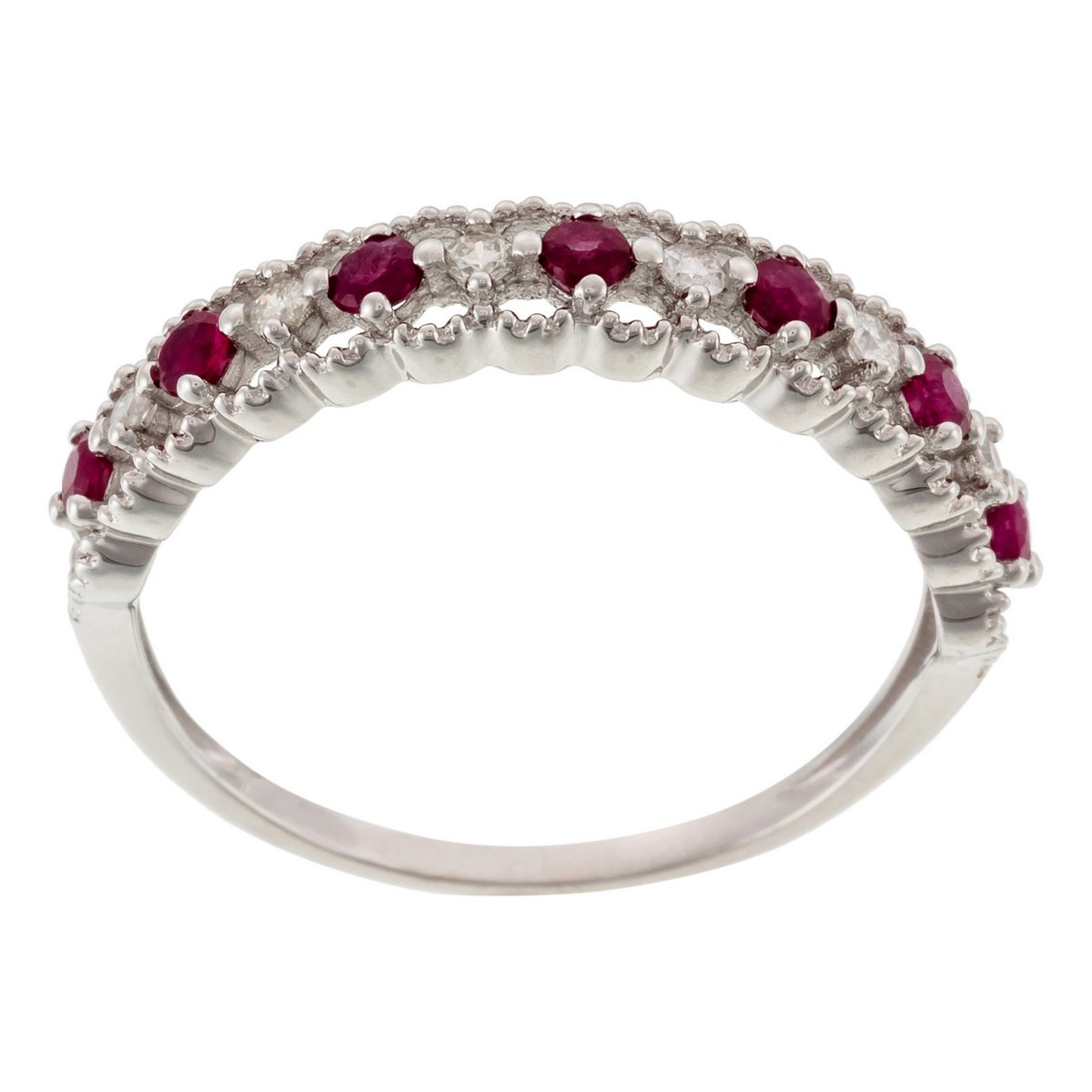"Bague Or Blanc ""KOH SAMUI"" Diamants 0,09 carat et Rubis 0,39 carat"