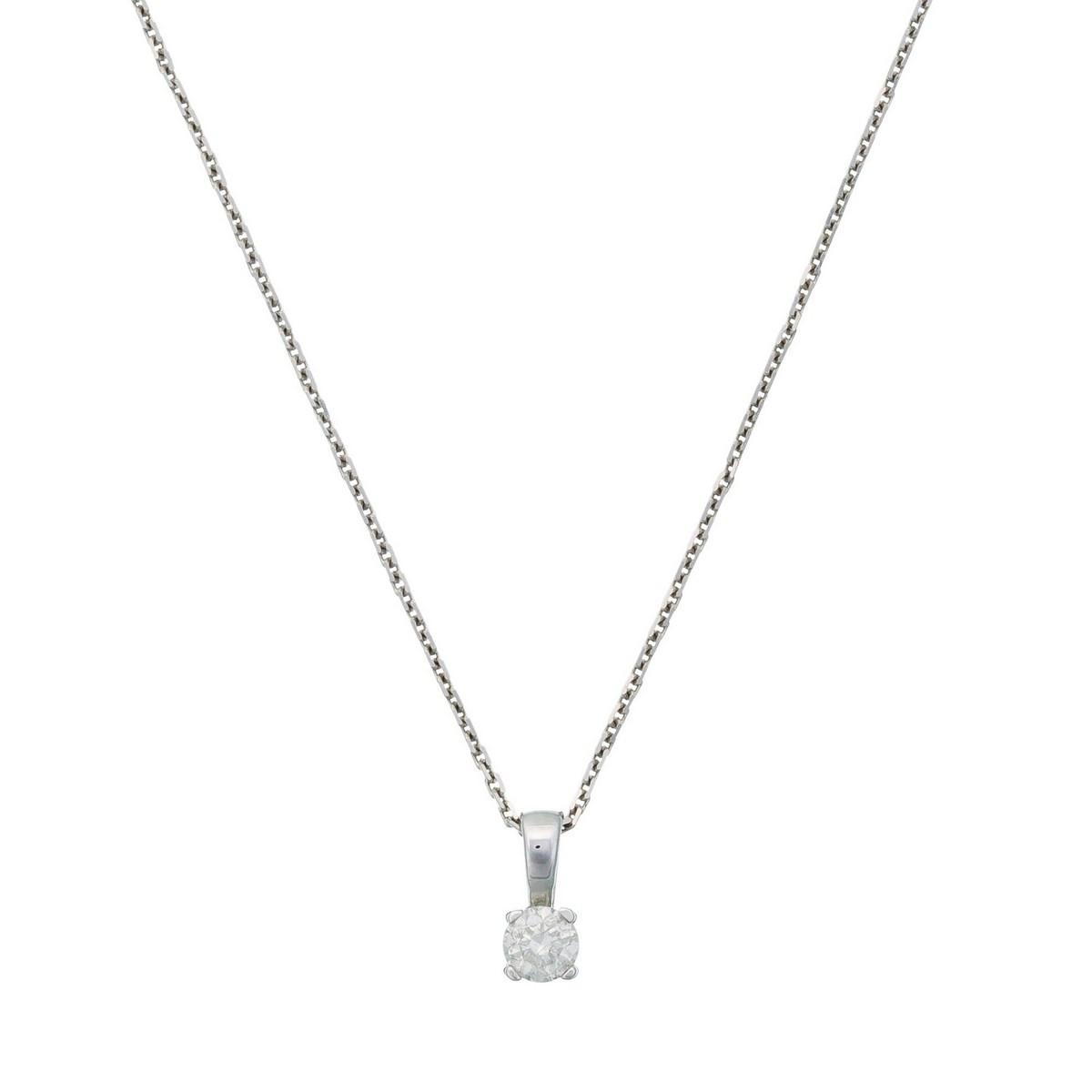 """Pendentif Or Blanc et Diamants 0,10 carat """"BRILLANT LUCIANA"""" et chaîne argent offerte"""