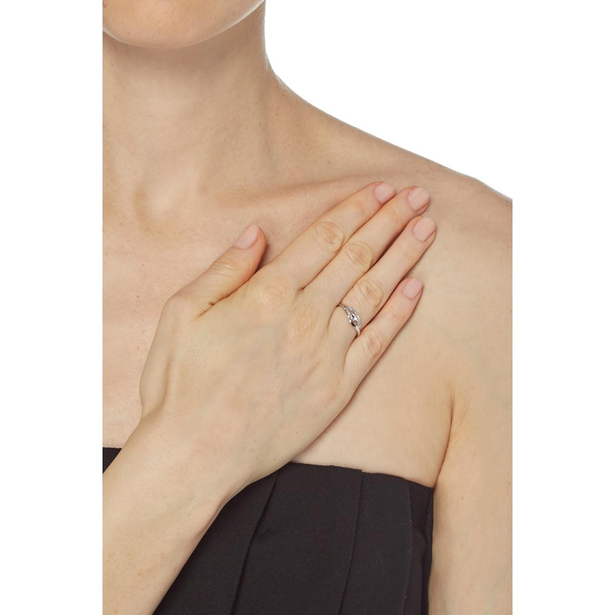 """Bague Or Blanc 375 """"MON CADEAU"""" Diamants 0,02 carat"""