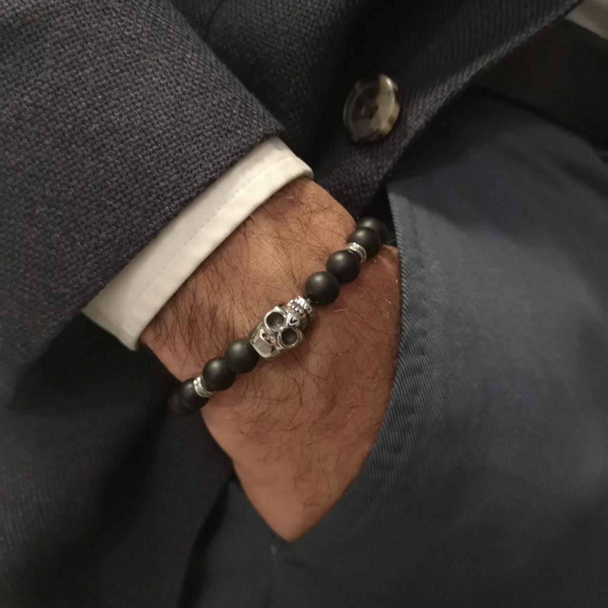 """Bracelet Homme élastiqué acier tête de mort et pierres noires """"DARK SIDE"""""""