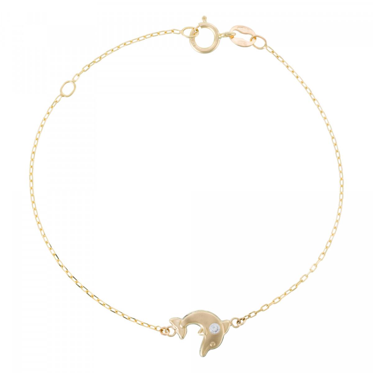 """Bracelet or jaune enfant """"JOYEUX DAUPHIN"""""""