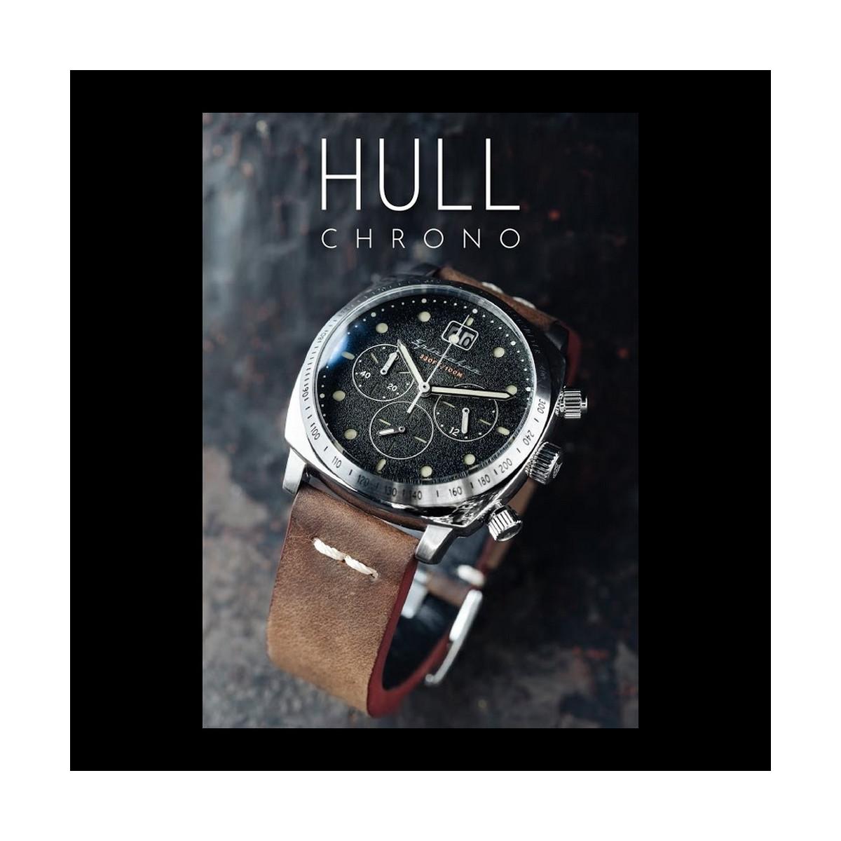 Montre Homme Spinnaker HULL Chronographe Cadran noir Bracelet cuir marron
