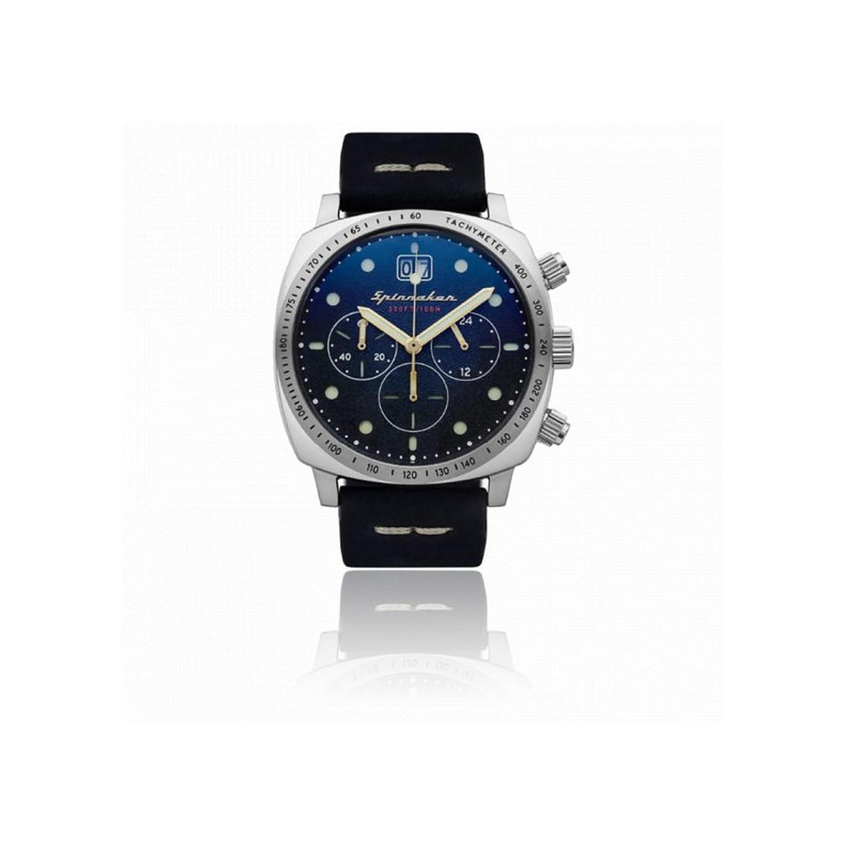 Montre Homme Spinnaker HULL Chronographe Cadran bleu Bracelet cuir bleu