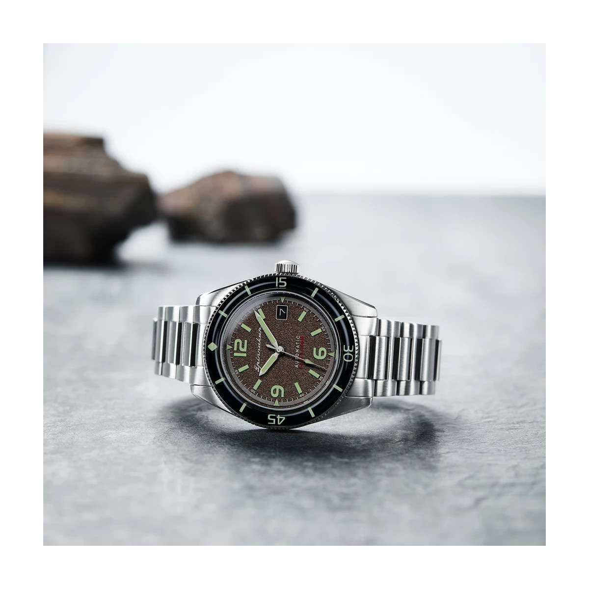 Montre Homme Spinnaker FLEUSS Automatique Cadran marron Bracelet acier