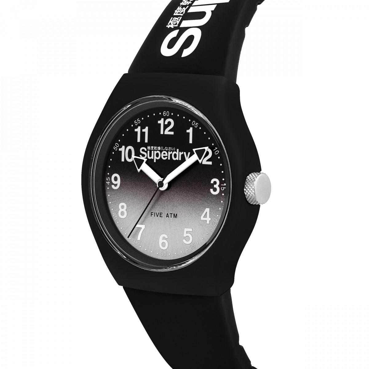 Montre Unisexe Superdry URBAN LASER Analogique Cadran noir et gris Bracelet silicone noir