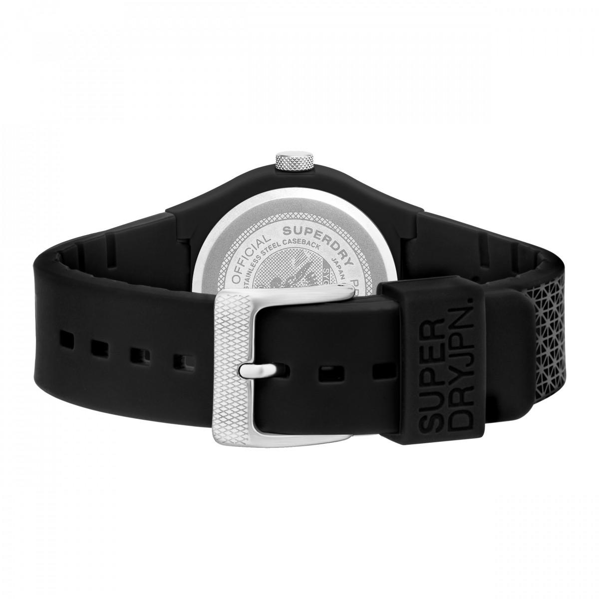 Montre Unisexe Superdry URBAN GEO SPORT Analogique Cadran noir et gris Bracelet silicone noir et gris