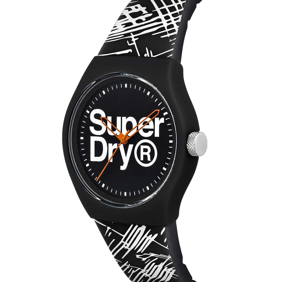 Montre Unisexe Superdry URBAN ETCH Analogique Cadran noir Bracelet silicone motifs noir