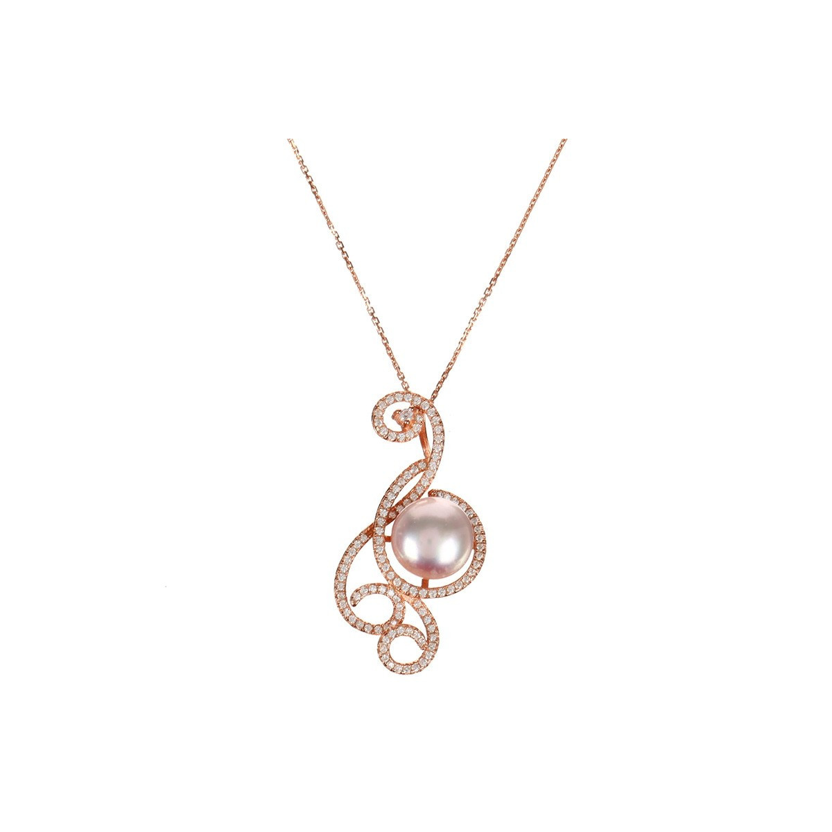 "Pendentif vermeil rose, oxydes de zirconium et perle de culture Rose ""Arabesque Orientale"" + chaîne vermeil rose offerte"