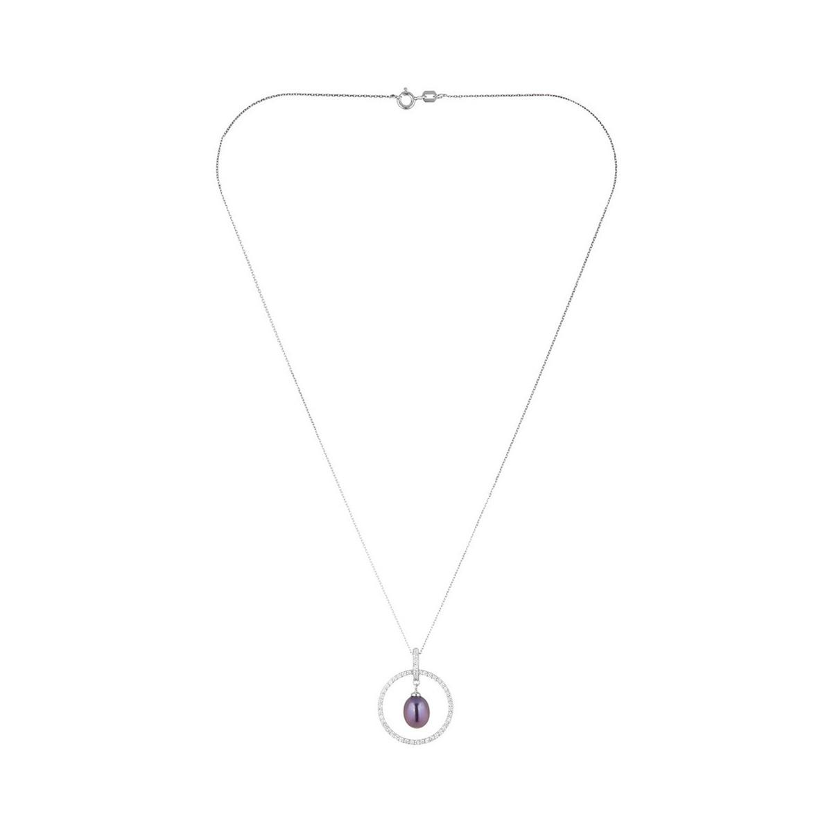 """Pendentif argent, zirconium et perle de culture noire """"Cerceau de Perle Noire"""" + chaine argent offerte"""