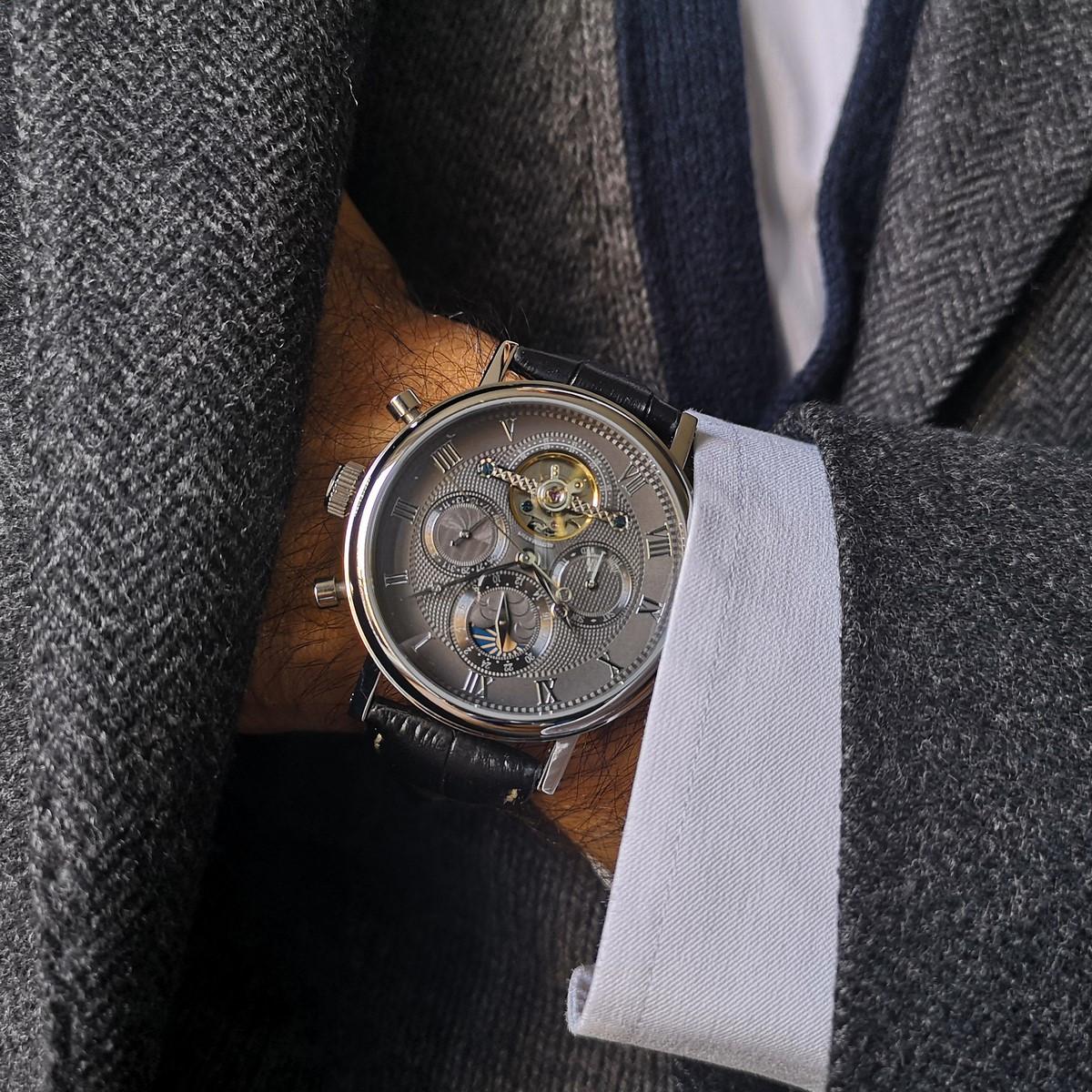 Montre Louis Cottier TRADITION Automatique 42 mm Gris boitier argenté - bracelet noir - HS3370CgBC1