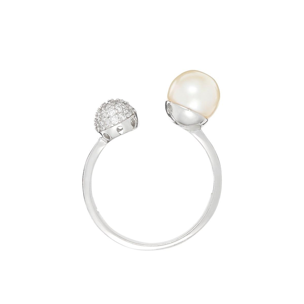 """Bague argent, oxydes de zirconium et perle de culture blanche """"Double Ronds"""""""