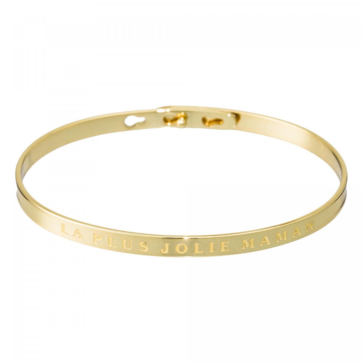 """""""LA PLUS JOLIE MAMAN"""" bracelet jonc doré à message"""