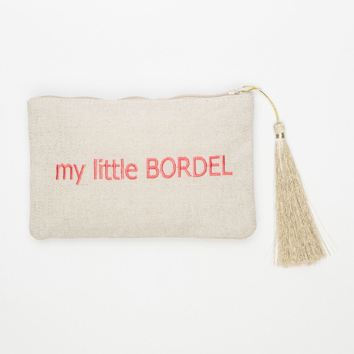 Petite pochette à message beige brodée MY LITTLE BORDELrose