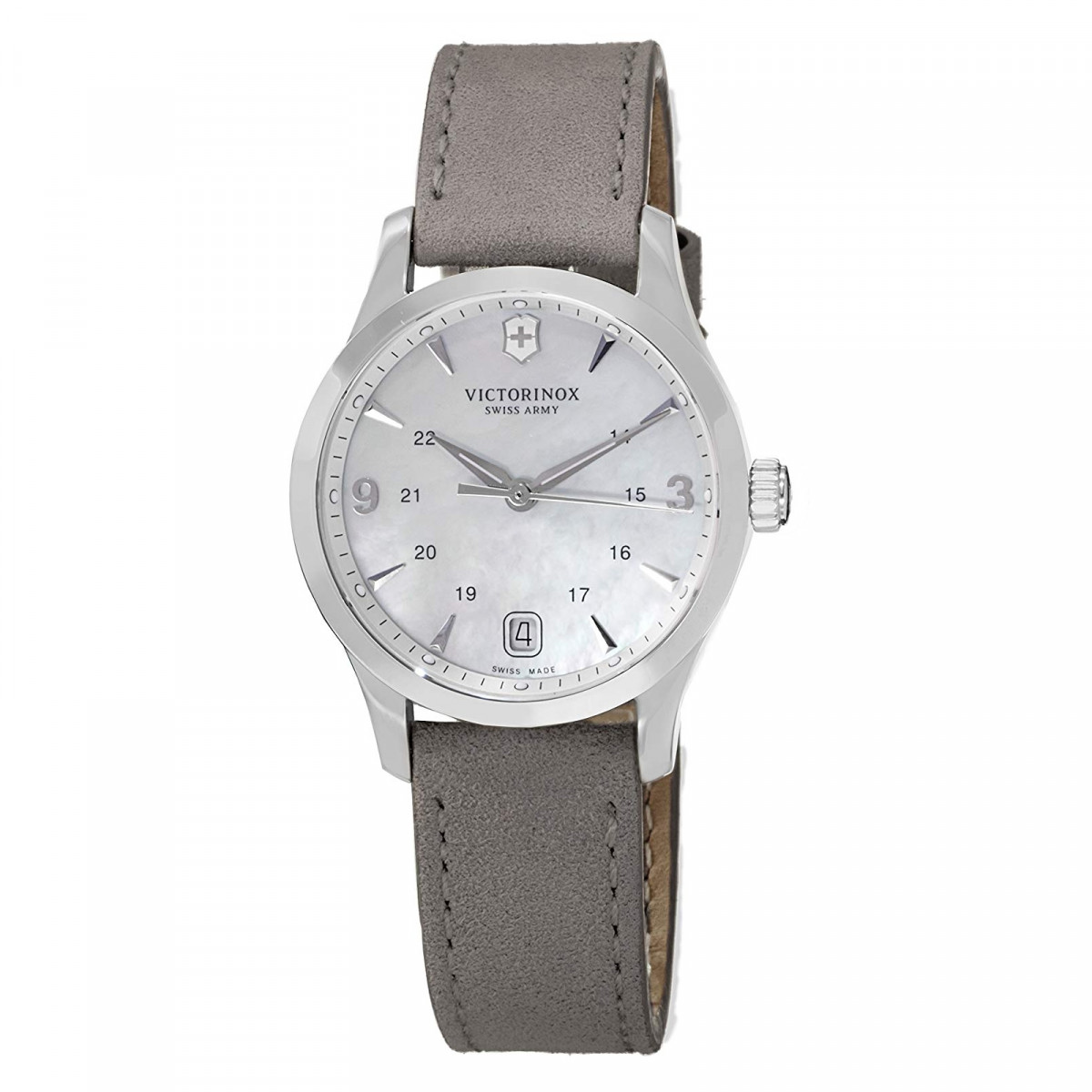 Montre Femme Victorinox ALLIANCE small, grey MOP dial, grey leather strap - 30mm