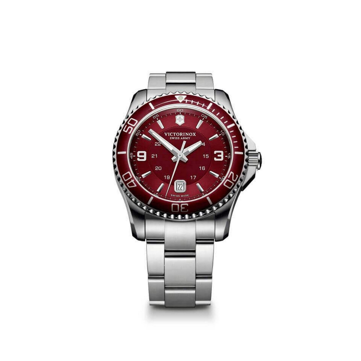 Montre Homme Victorinox MAVERICK, large, red bezel red dial bracelet - 43 mm