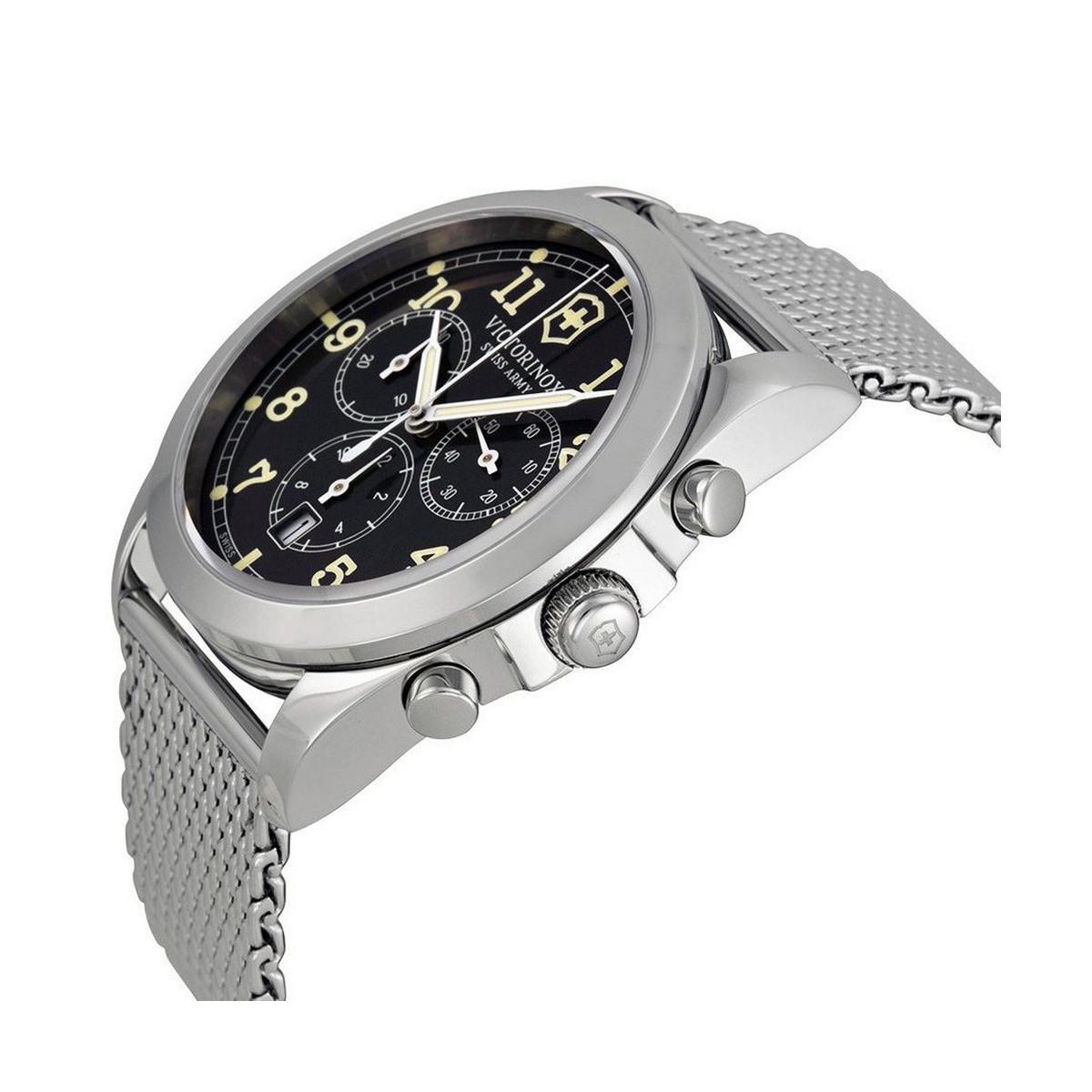 Montre Homme Victorinox INFANTRY chronographe, cadran gris foncé et bracelet maille milanaise - 40 mm