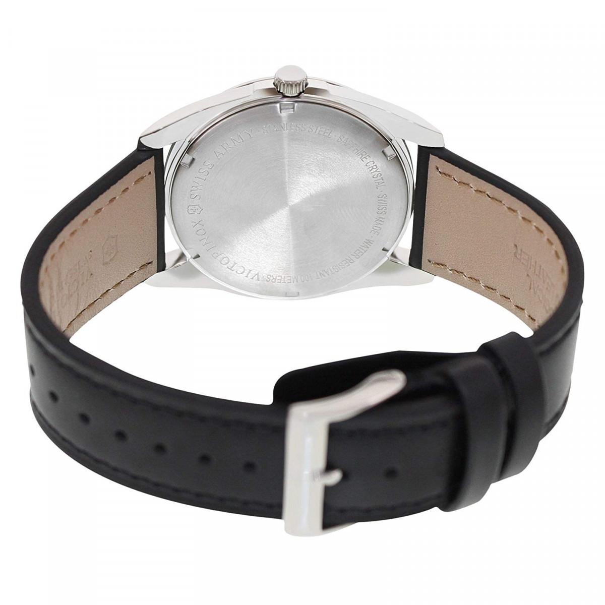 Montre Homme Victorinox INFANTRY, cadran gris foncé et bracelet cuir noir - 40 mm