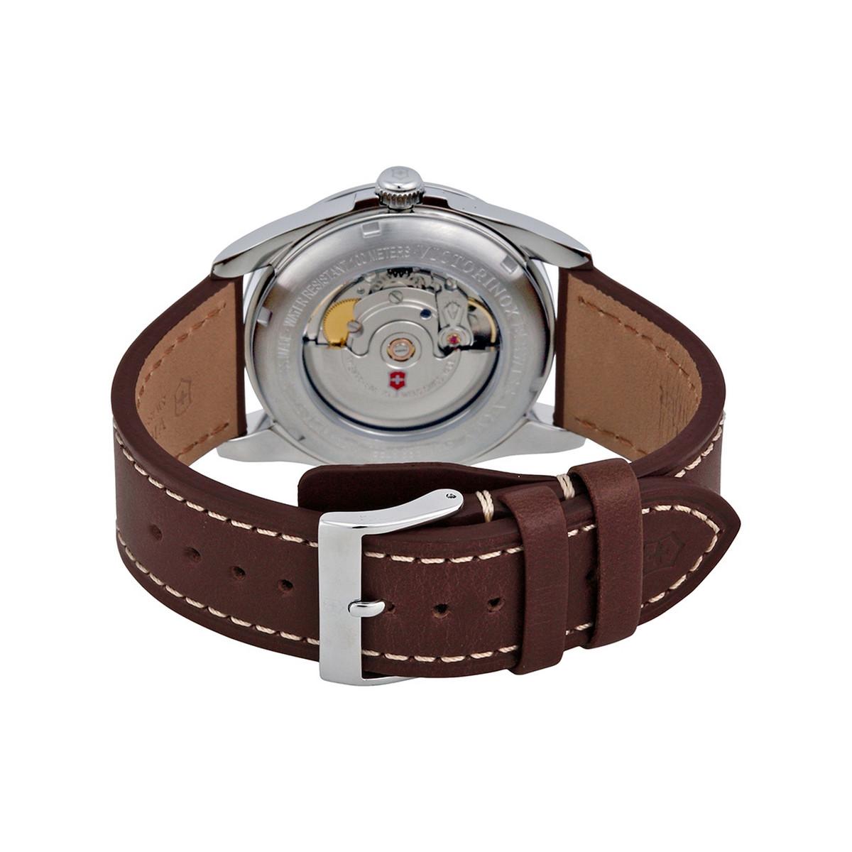Montre Homme Victorinox INFANTRY Mechanical, cadran blanc argenté, bracelet cuir marron - 40 mm