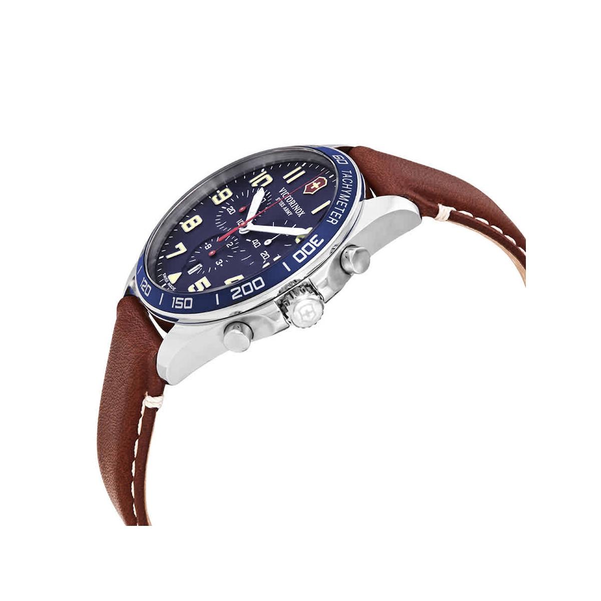 Montre Homme Victorinox FIELDFORCE Chronograph, cadran bleu, bracelet cuir marron - 42 mm