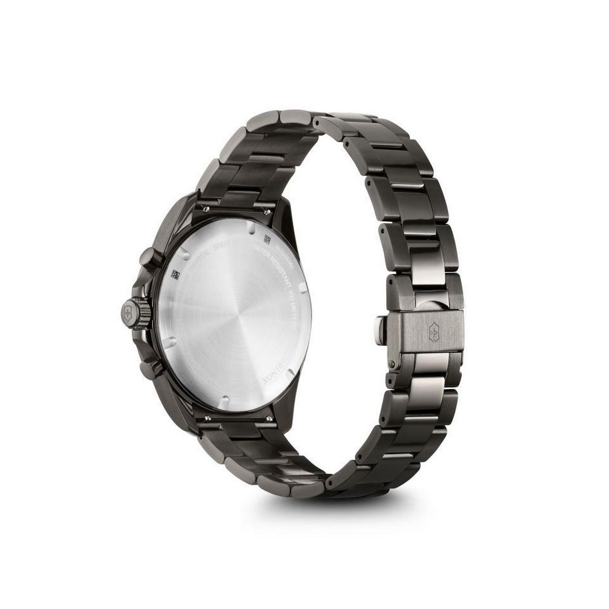 Montre Homme Victorinox FIELDFORCE Sport Chrono, cadran noir, bracelet acier inoxydable noir - 42 mm