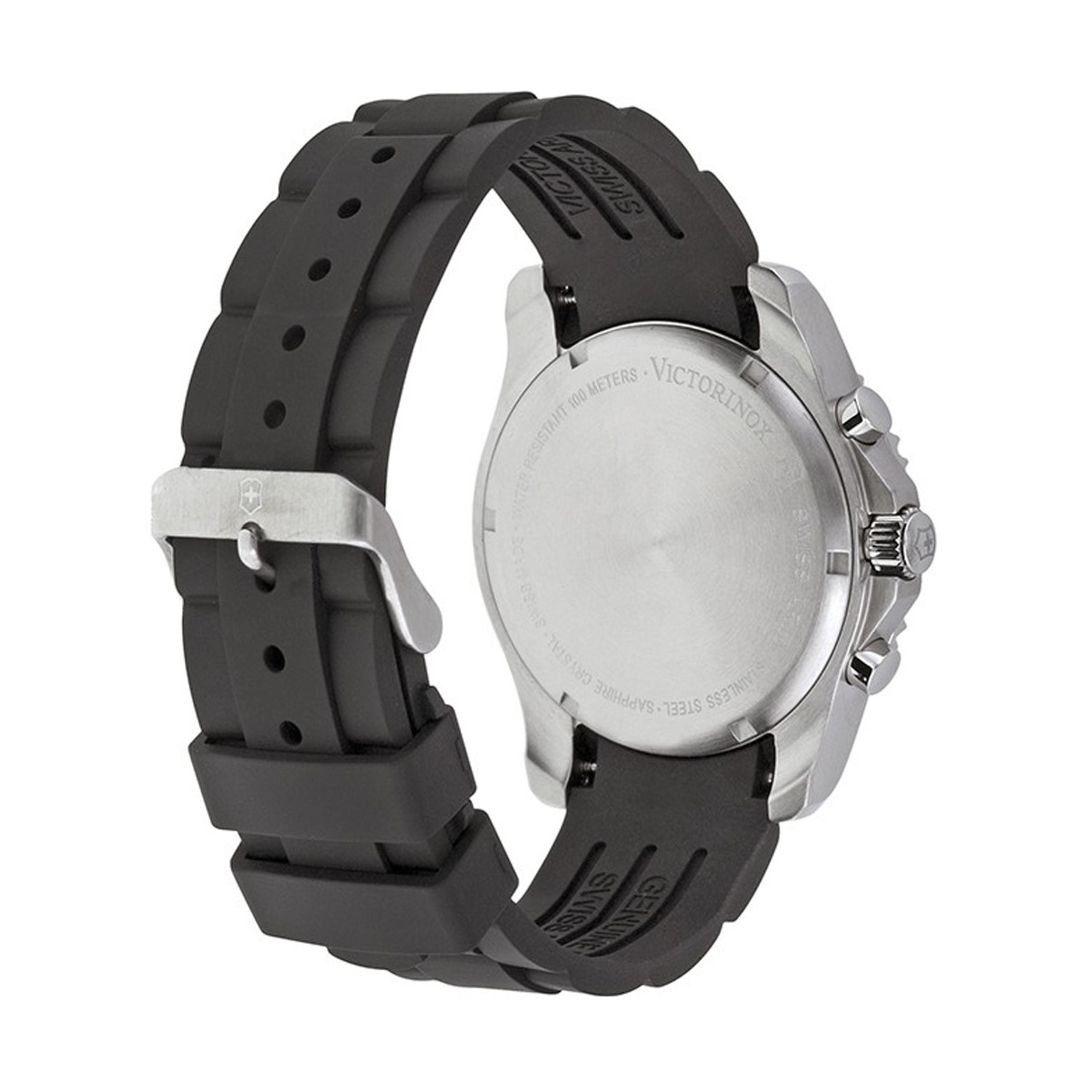 Montre Homme Victorinox MAVERICK Chronograph, lunette noire, cadran noir, bracelet caoutchouc noir - 43 mm