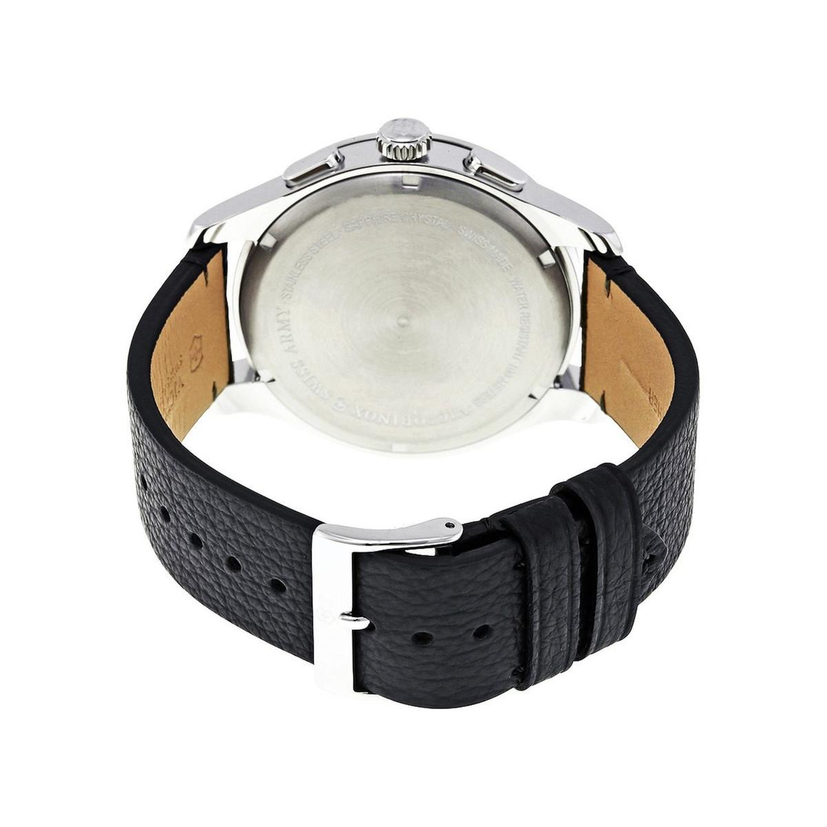Montre Homme Victorinox ALLIANCE Chronograph, cadran gris, bracelet cuir noir - 44 mm