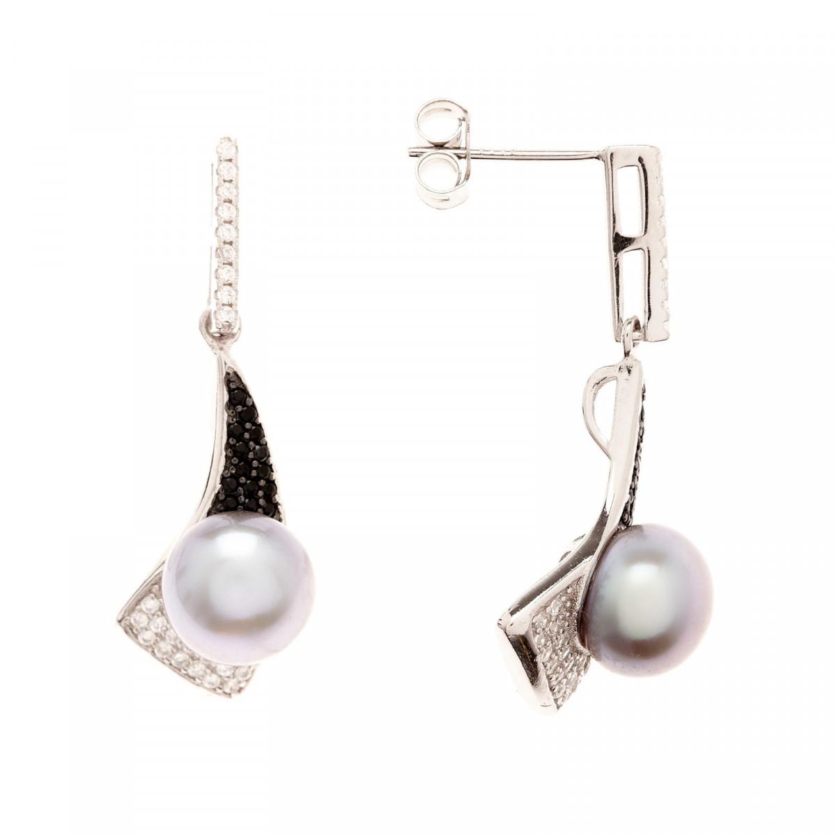 """Boucles d'oreilles argent, perles de cultures grises et zirconium """"Voluté"""""""