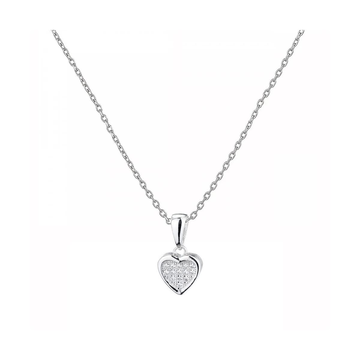 """Pendentif Argent et oxydes de zirconium """"Coeur Plein"""" + chaine argent offerte"""