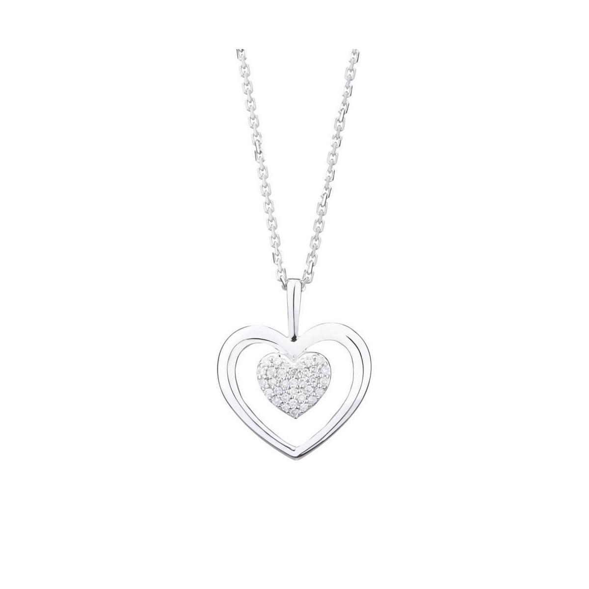 "Pendentif Or Blanc et Diamants 0,06 carat ""COEUR TENDRESSE"""
