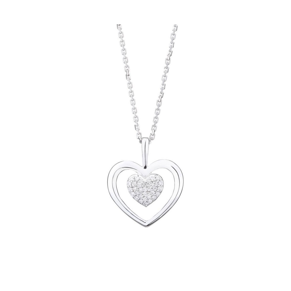 """Pendentif Or Blanc et Diamants 0,06 carat """"COEUR TENDRESSE"""" + chaîne argent offerte"""