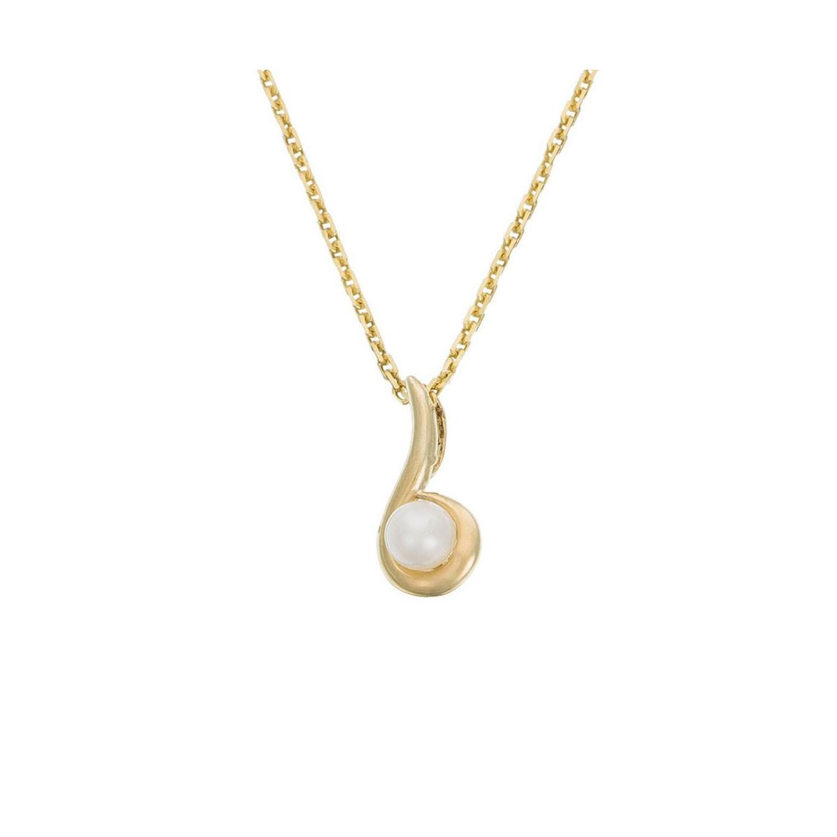 "Pendentif Or Jaune et perle blanche ""Ambiante"" + Chaîne offerte"