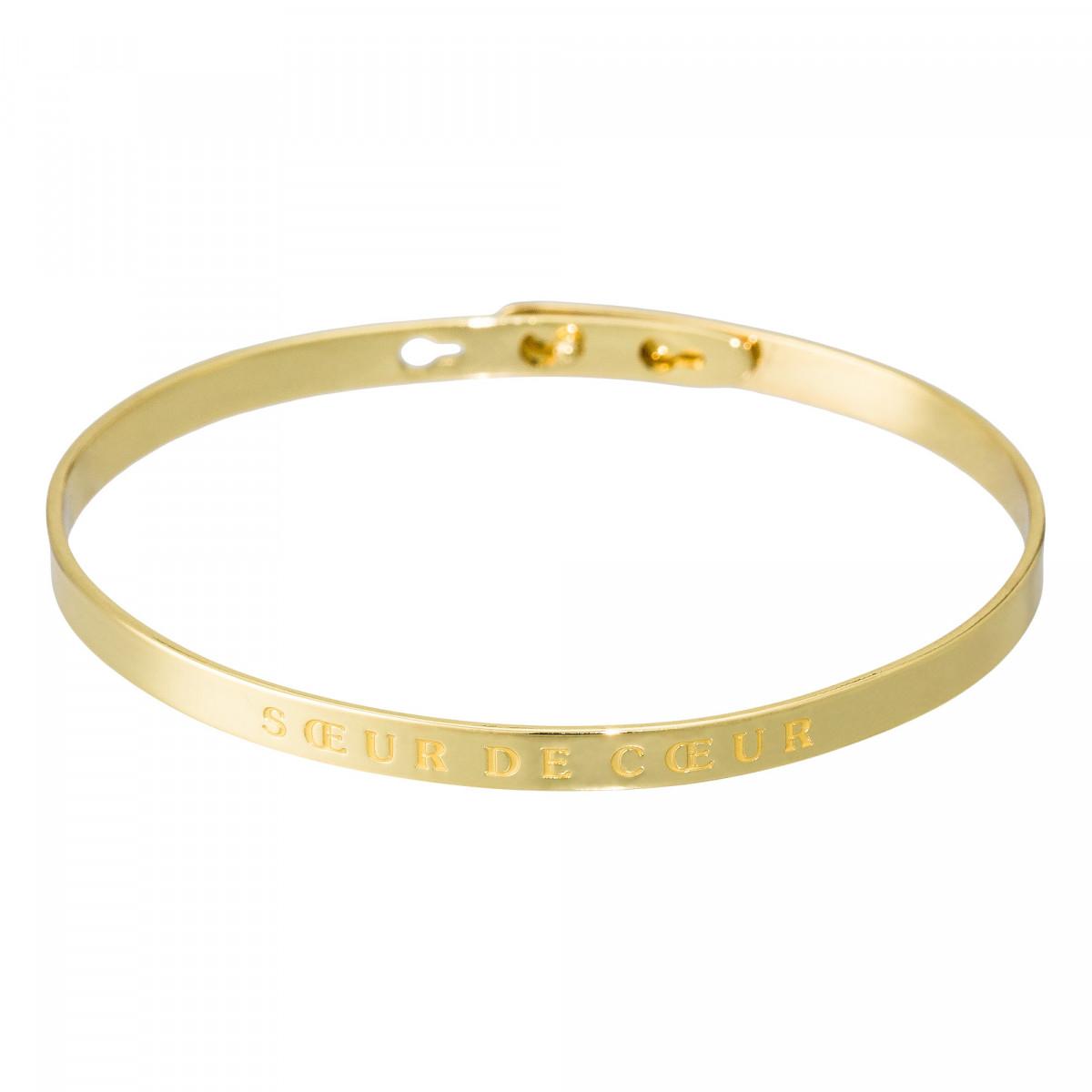 """""""SOEUR DE COEUR"""" Jonc doré bracelet à message"""