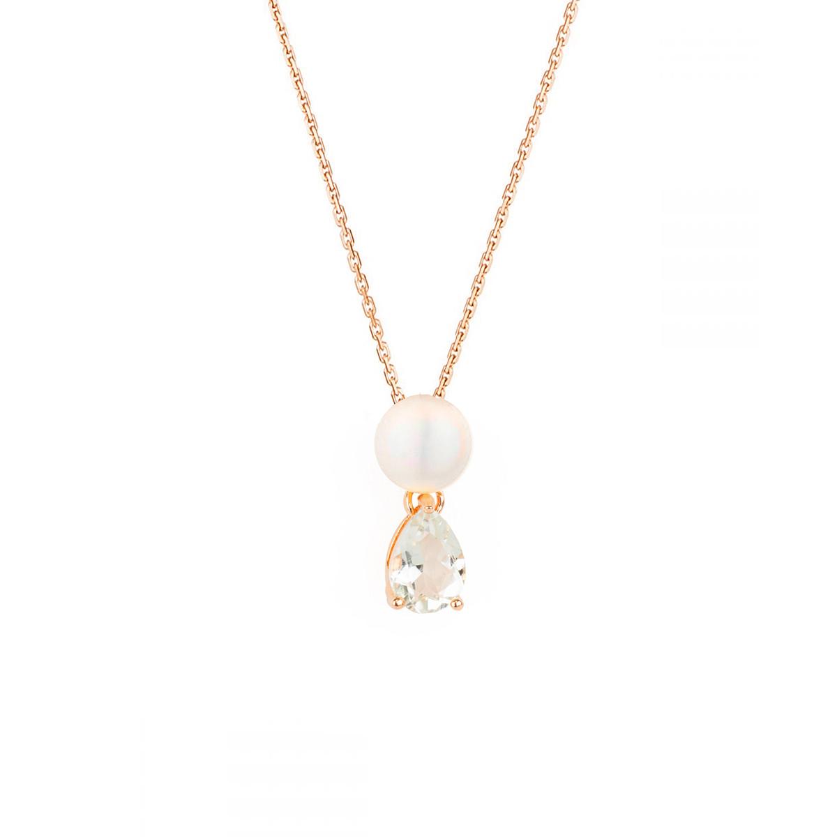 """Pendentif vermeil rose, oxydes de zirconium et perle de culture Blanche  """"Preciosa"""" + chaîne vermeil rose offerte"""