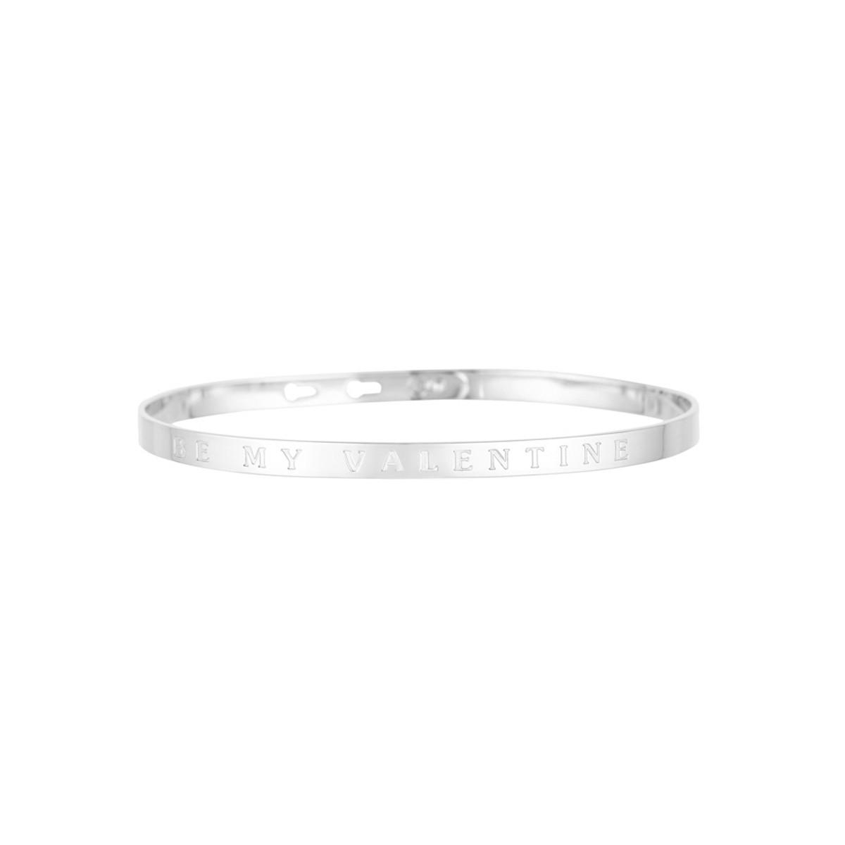 """BE MY VALENTINE"" bracelet jonc argenté à message"
