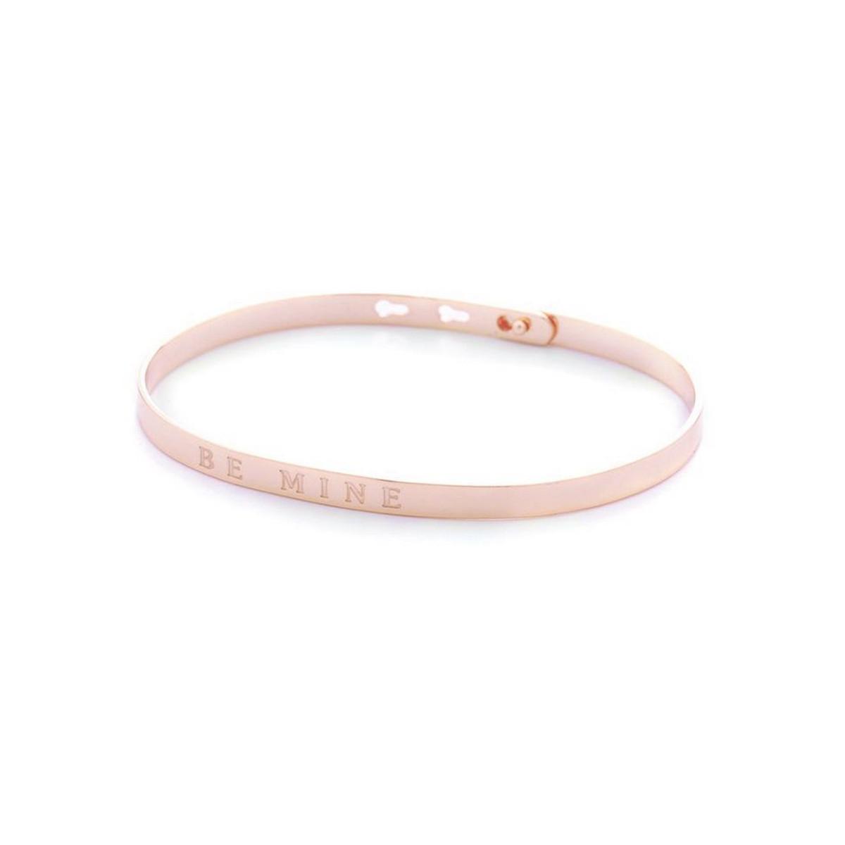 """""""BE MINE"""" bracelet jonc rosé à message"""