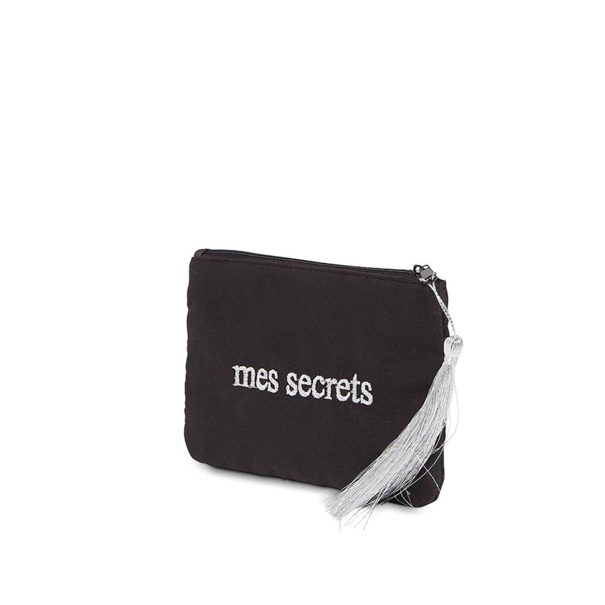 Petite pochette à message noire brodée MES SECRETS argentée