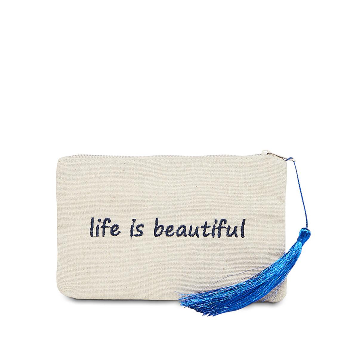 Petite pochette à message beige LIFE IS BEAUTIFUL bleue marine