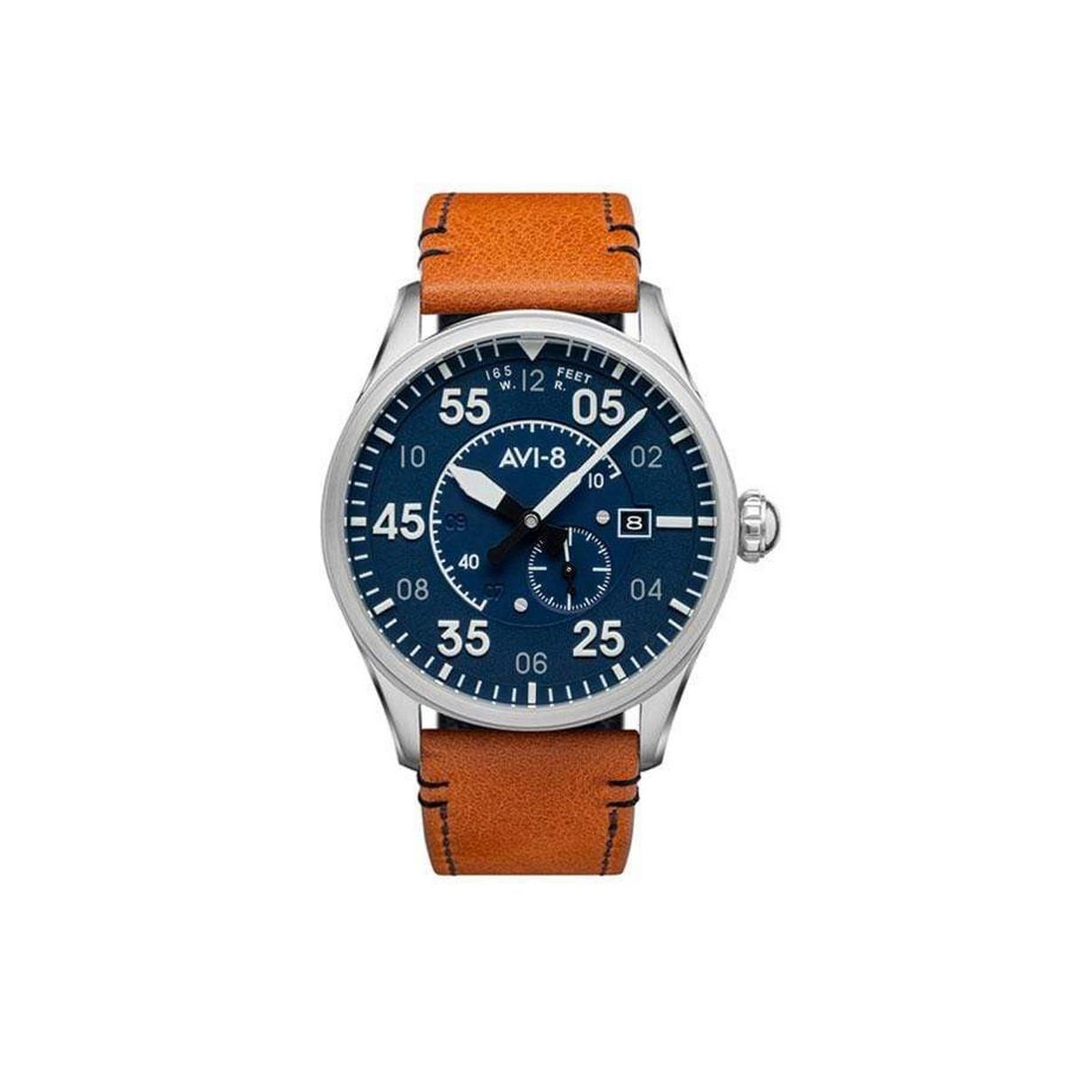 Montre Homme AVI-8 SPITFIRE Automatique Cadran acier bleu  Bracelet acier + Bracelet cuir