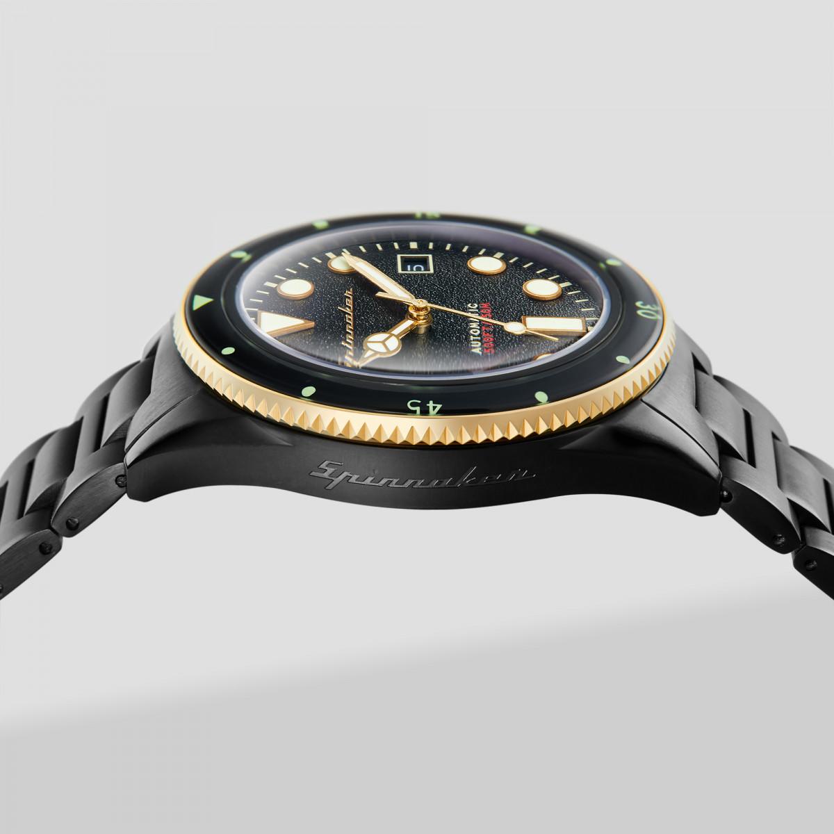 Montre Homme Spinnaker CAHILL Automatique Cadran noir  Bracelet en acier inoxydable