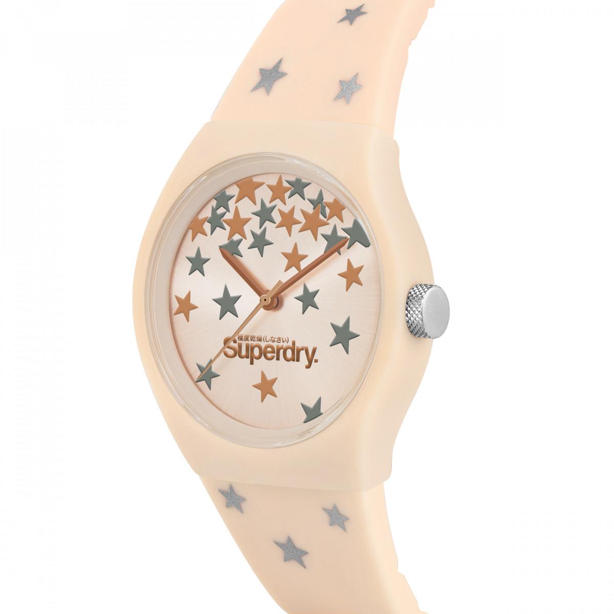 Montre Unisexe Superdry URBAN STAR Analogique Cadran doré rose  Bracelet en silicone à motifs