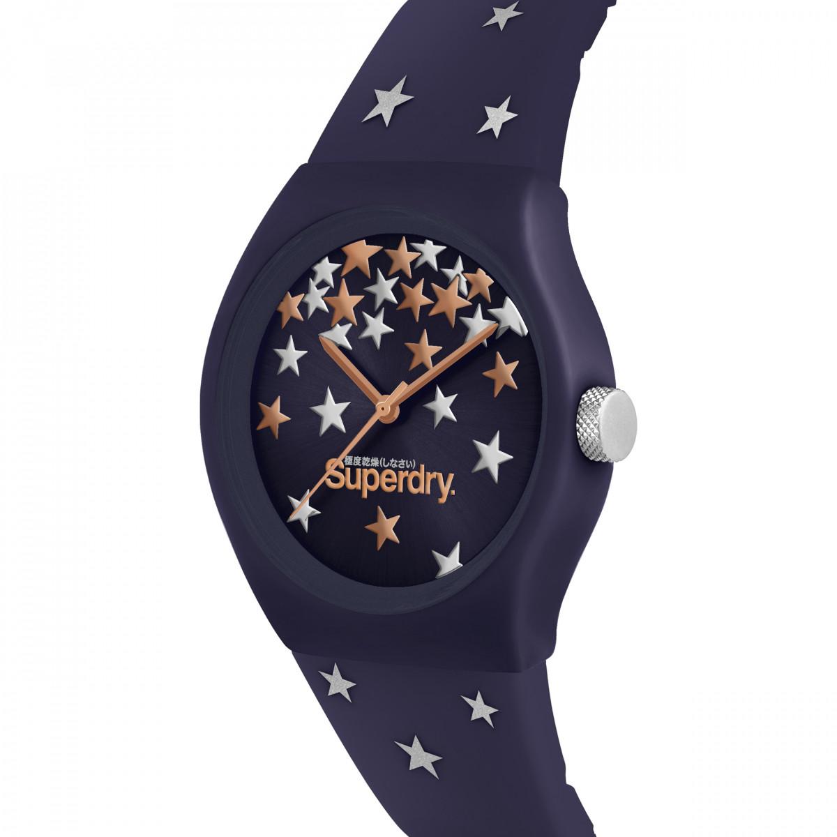 Montre Unisexe Superdry URBAN STAR Analogique Cadran bleu  Bracelet en silicone à motifs