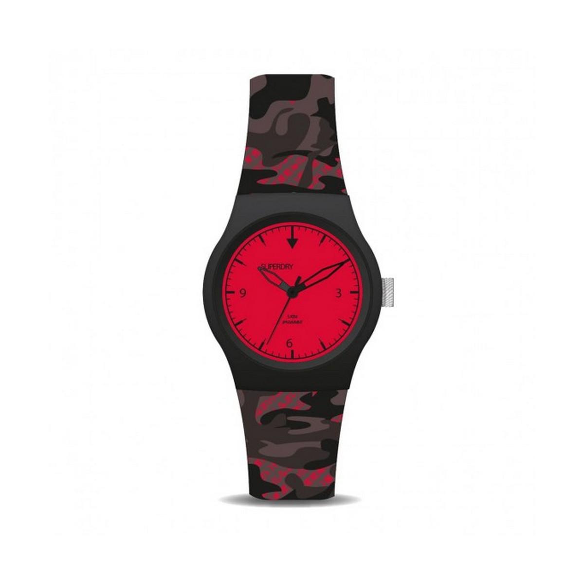 Montre Unisexe Superdry URBAN FLURO CAMO Analogique Cadran rouge  Bracelet en silicone à motifs