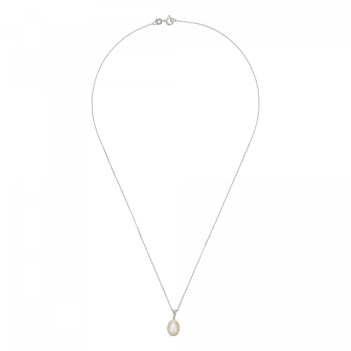 Pendentif Or Blanc Diamant et Perle